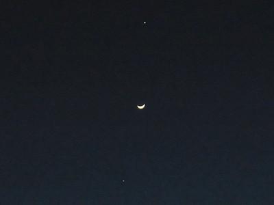 金星と月と木星