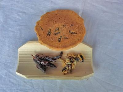 左下:イナゴの佃煮、右下:ヘボ(クロスズメバチの幼虫)、上:クロスズメバチ入り煎餅
