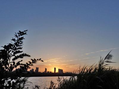 日の出の荒川岸からの眺め