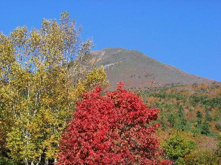 磐梯山を背景にした紅葉と黄葉