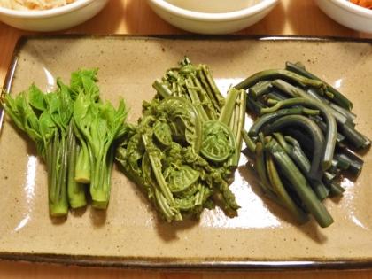 山菜のお浸し三種盛り