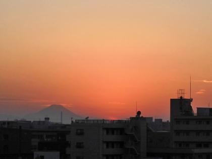 富士山と夕焼け空