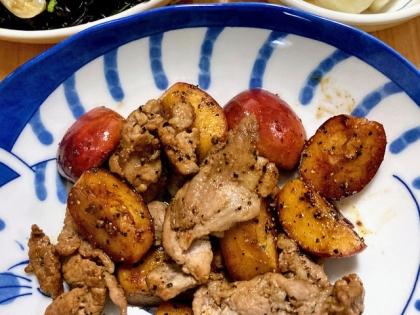 姫りんごと豚肉の炒め物